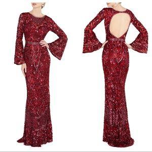 NEW Mac Duggal Red Sequin Gorn Dress 4576D